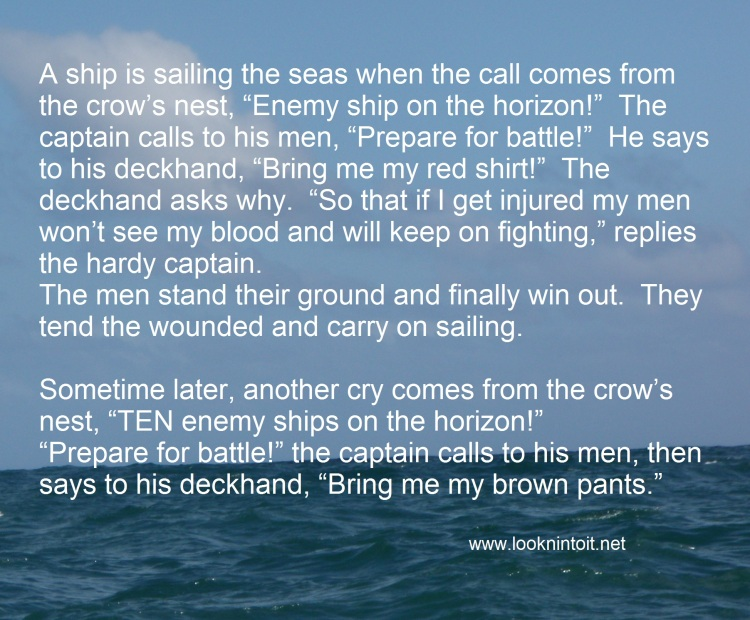 Funny Joke to give a Laugh, has image of a relatively calm blue sea and sky, with the words of a long joke on it.
