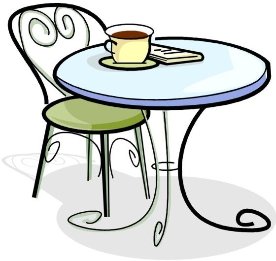 Cartoon style image of a cafe table and a chair, with cup of coffee on the table.