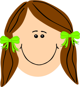 Cartoon face of smiling girl.