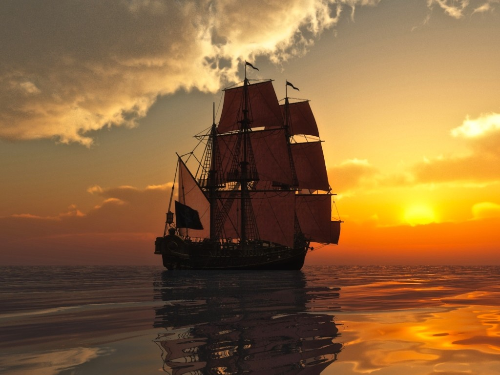 Large square rigger sailing ship on calm sea, sailing away under full sail towards a sunset partially behind clouds.