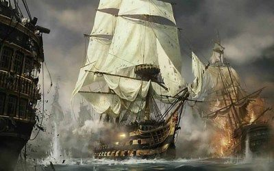 Three square rig sailing ships in the heat of battle.  Lots of smoke and splashing water.